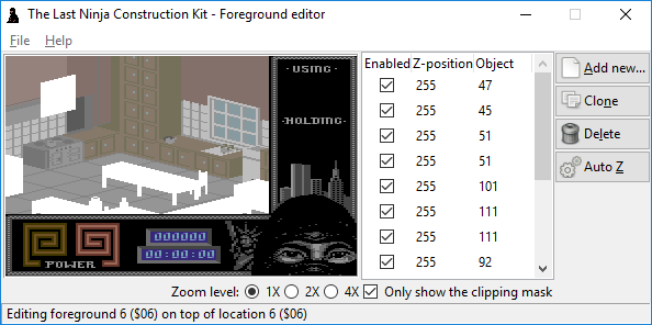 The Last Ninja Construction Kit: foreground editor (for sprite clipping) by Luigi Di Fraia