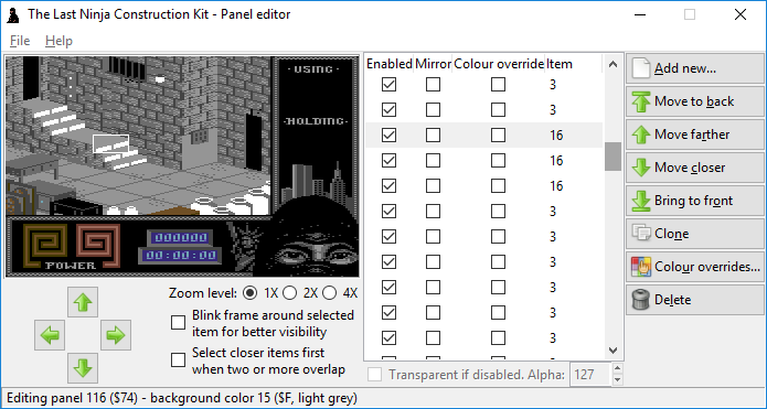 The Last Ninja Construction Kit: panel editor by Luigi Di Fraia