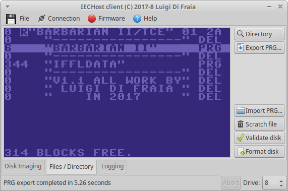 IECHost GUI client: version 2.2-beta running under Xubuntu Linux by Luigi Di Fraia