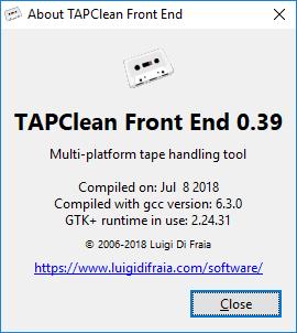 TAPClean FE 0.39: About dialog by Luigi Di Fraia